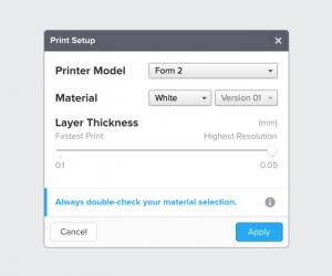 Resine Formlabs, Preform print setup